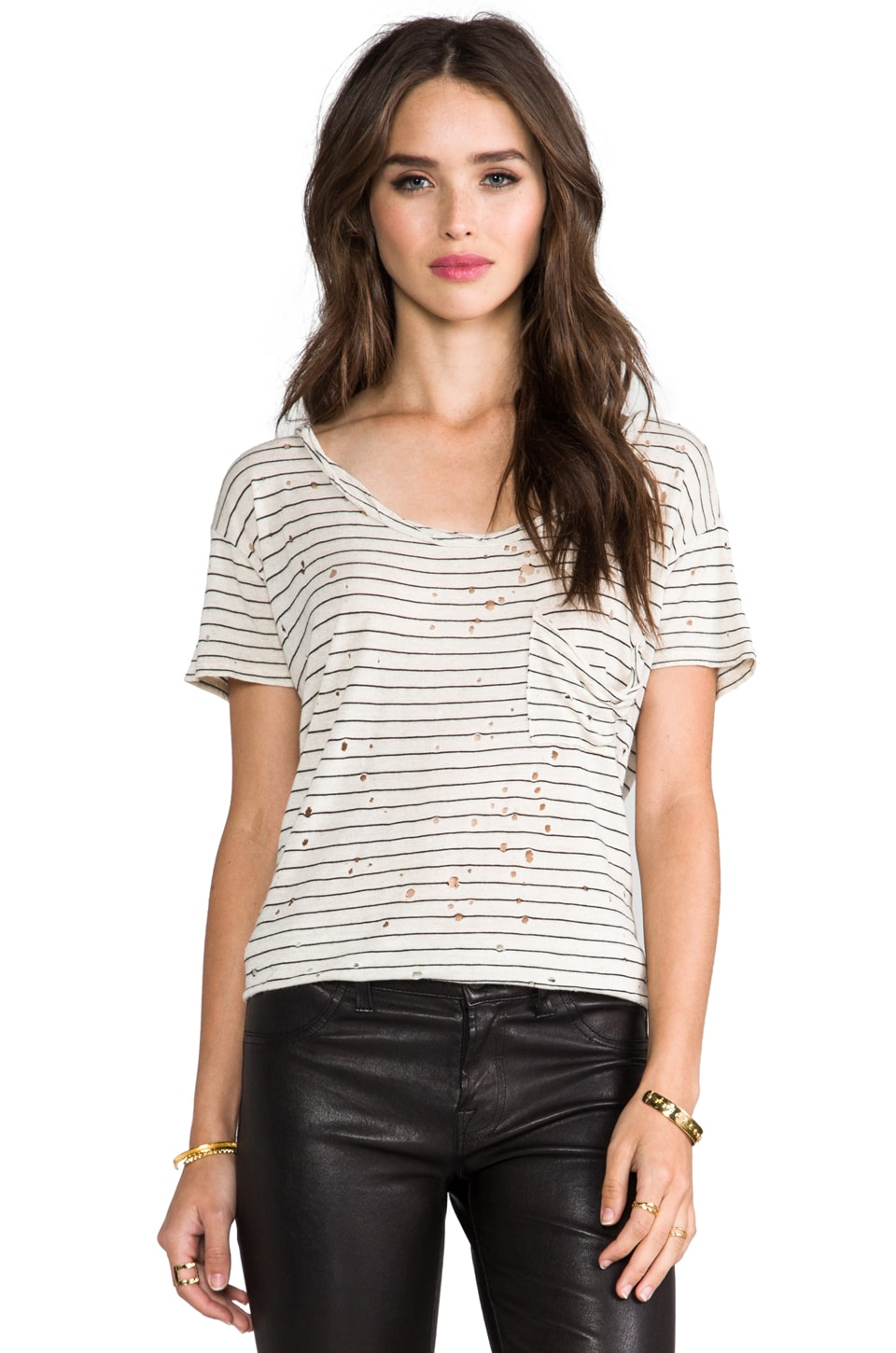 DAYDREAMER Stripe Destroyed Twist Neck Pocket Tee in Erosion Wash