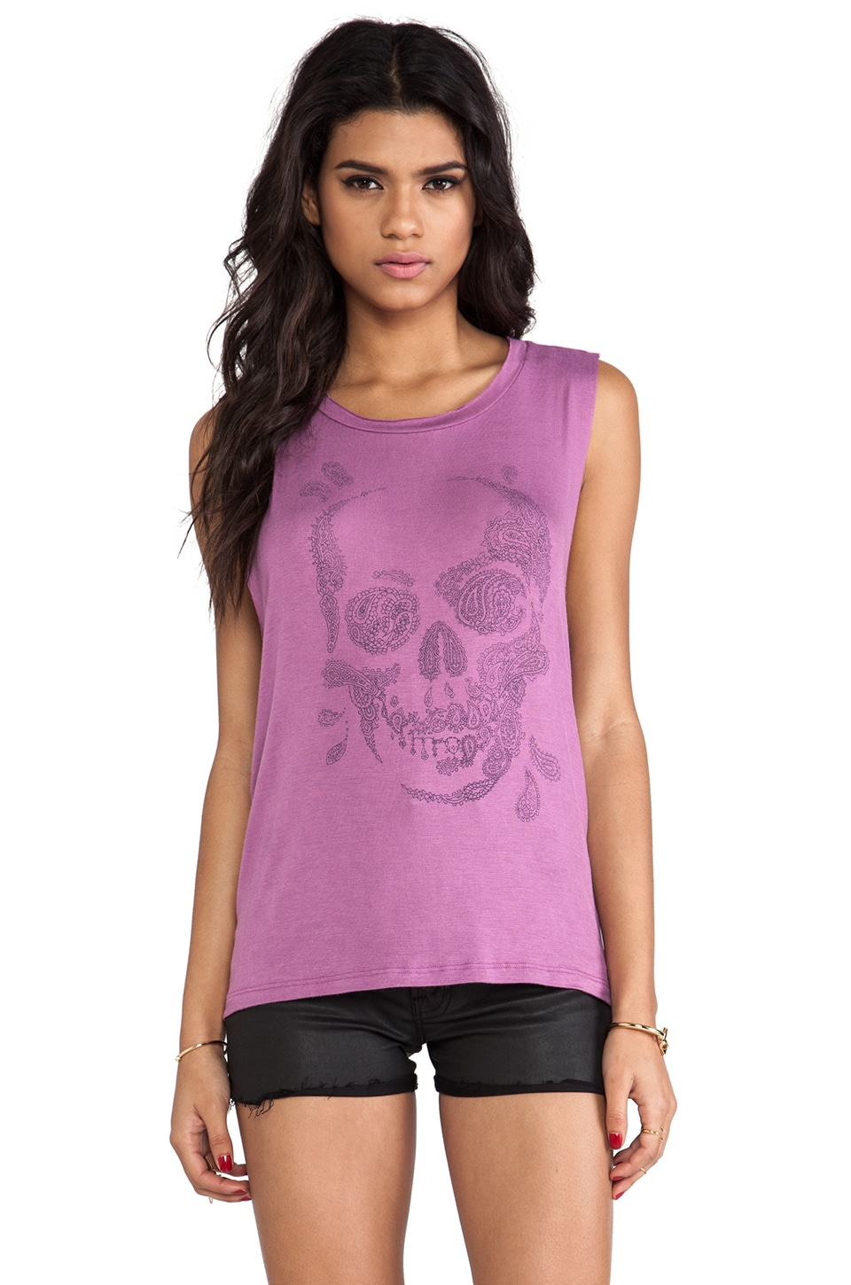 DAYDREAMER Paisley Calavera Tank in Rose