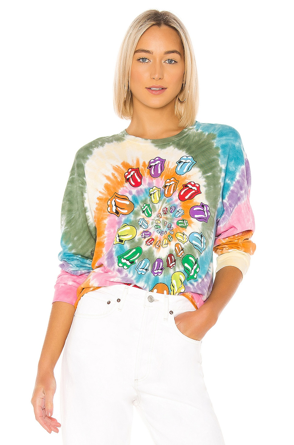 DAYDREAMER X REVOLVE Rolling Stones Bigger Bang Long Sleeve Tee in Multi Tie Dye