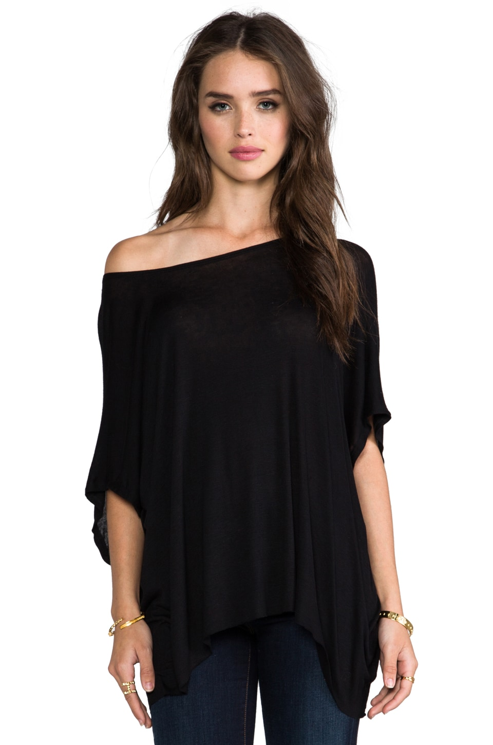 DAYDREAMER Oversized Tee with Back Zip in Black