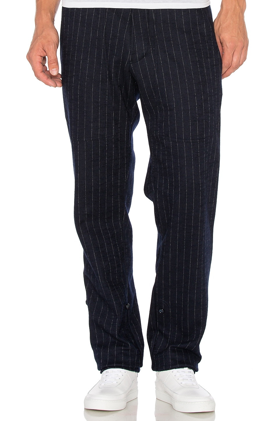 Death to Tennis Rohan Trousers in Navy Pinstripe