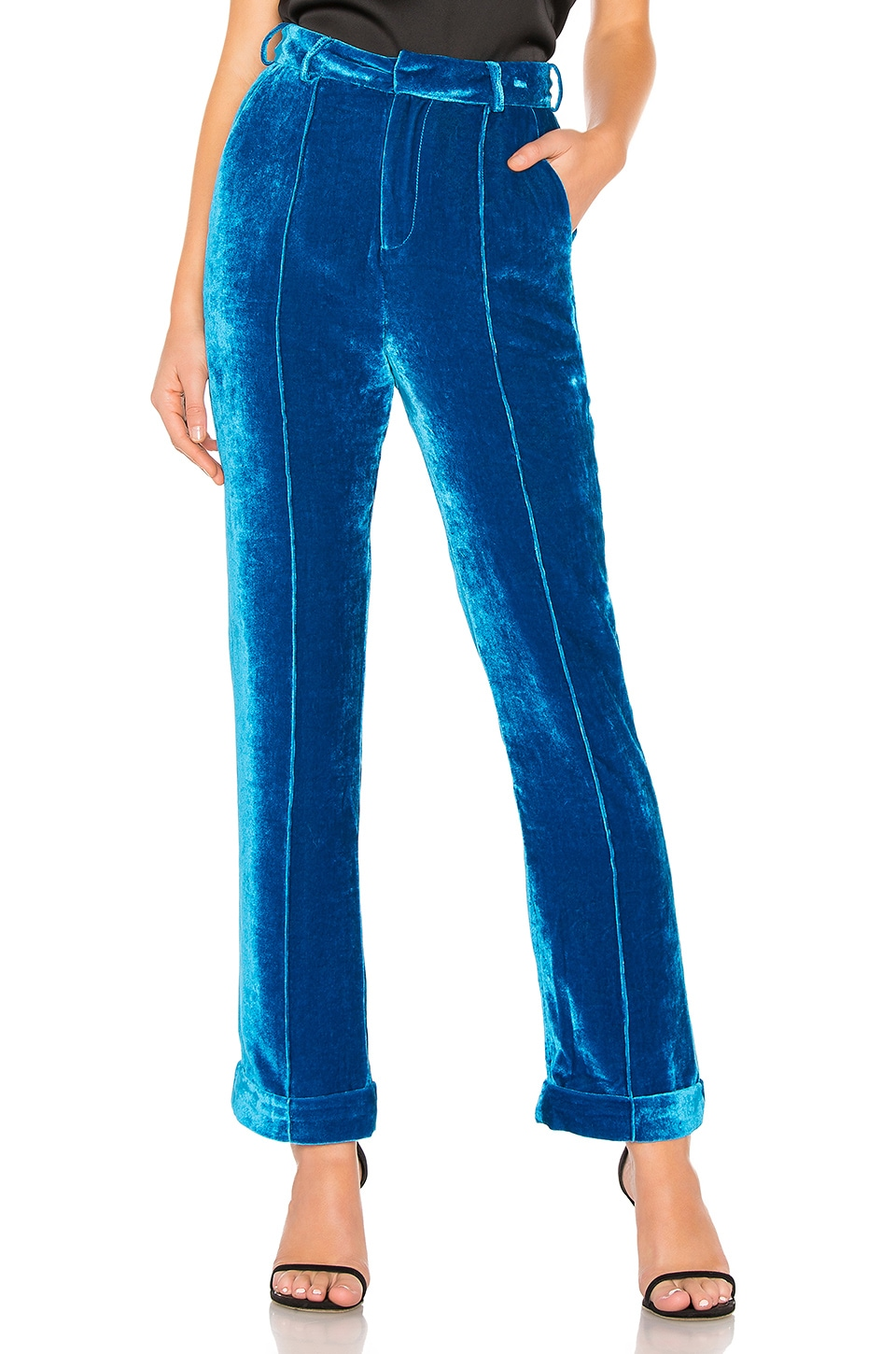 DE LA VALI Tiger Lily Velvet Trouser in Teal
