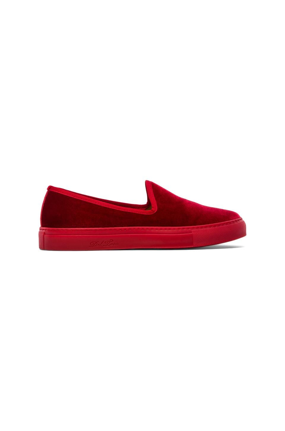 Del Toro Velour Slip-On in Red