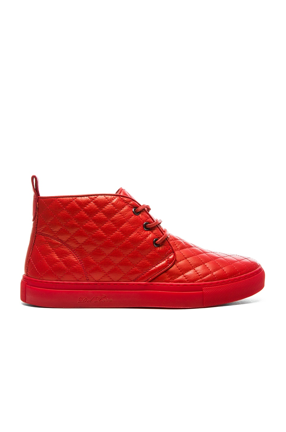 Del Toro Quilted Leather Chukka in Red