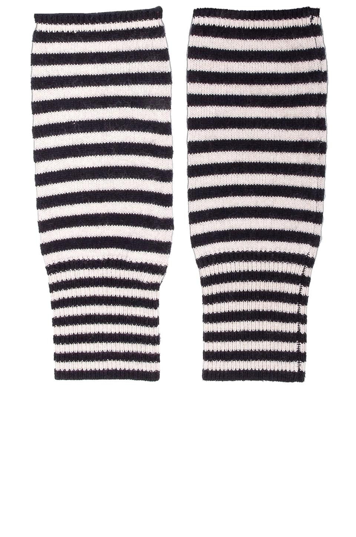 DemyLee Cashmere Stripe Wrist Warmer in Navy/Stone