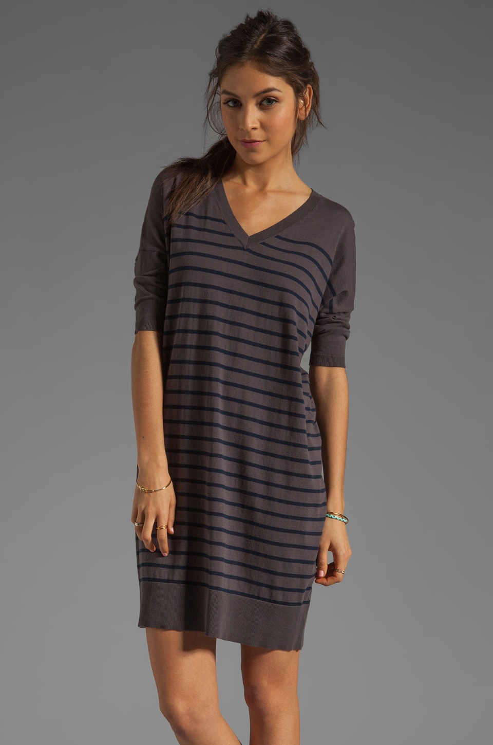 DemyLee Chelsea Striped Dress in Dark Grey/Navy