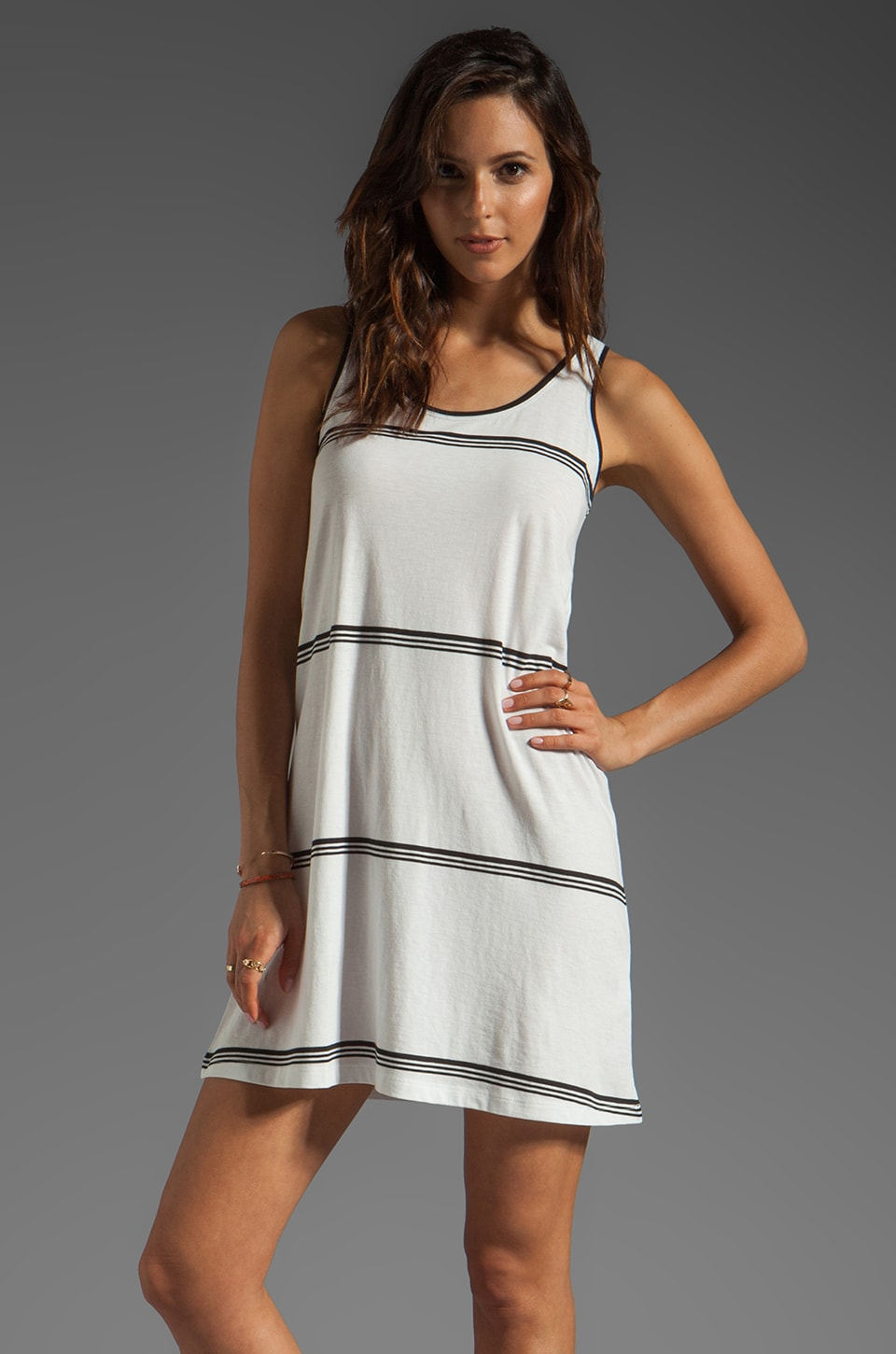 DemyLee Eden Space Stripe Tank Dress in White/Black