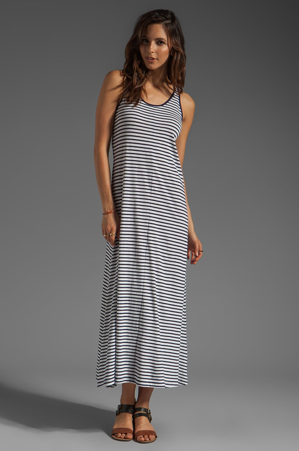 DemyLee Karis Sailor Stripe Maxi Dress in White/Navy
