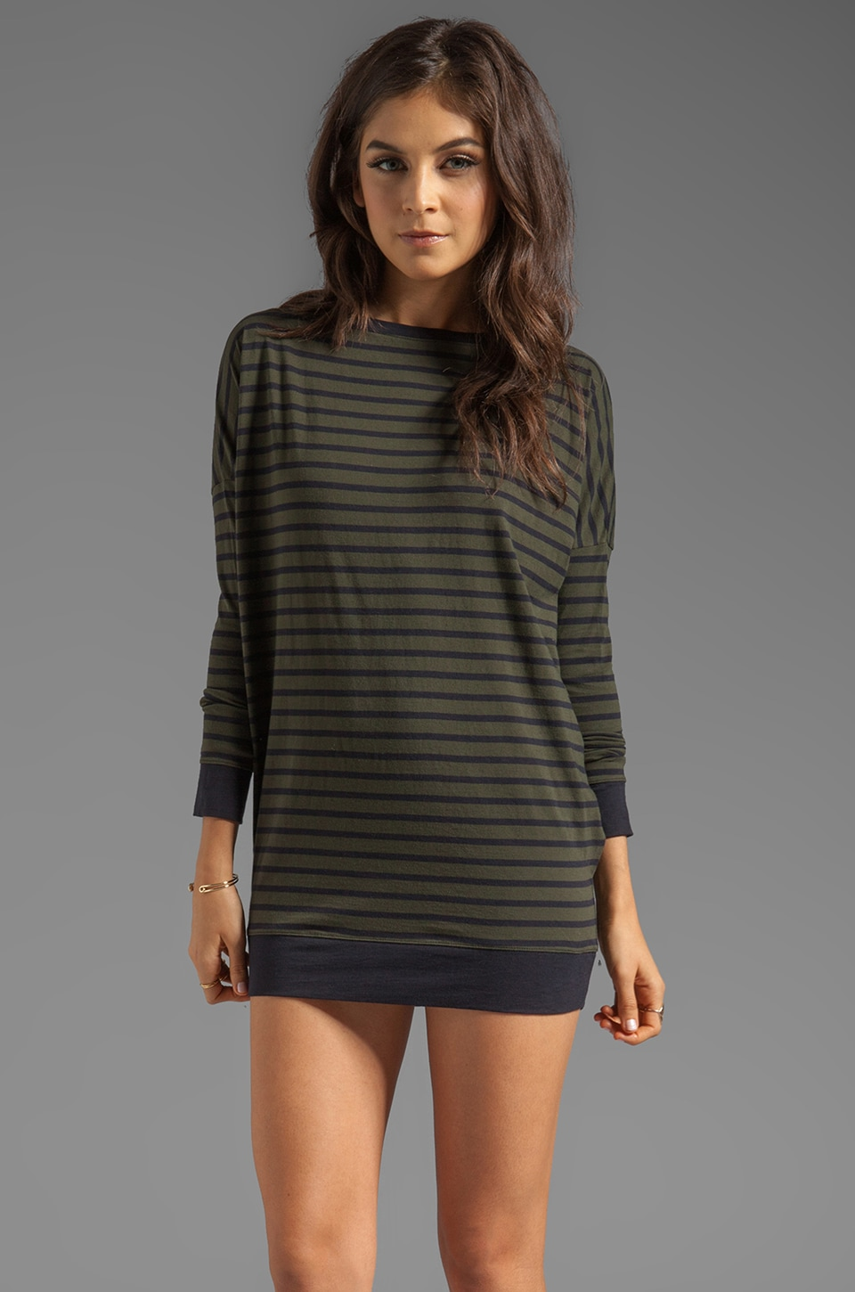 DemyLee Charlie Stripe Tunic in Army Green/Navy