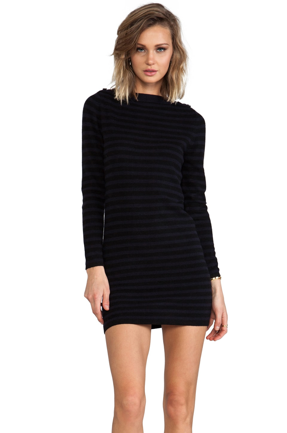 DemyLee Crosby Cashmere Sweater Dress in Black/Navy