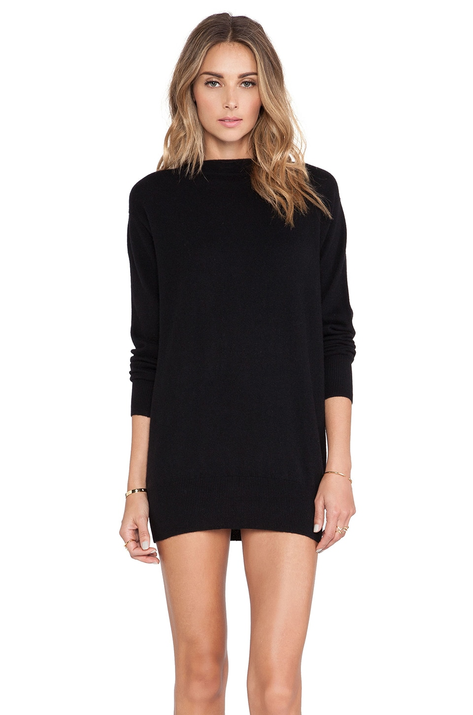 DemyLee Alyssa Cashmere Sweater Dress in Black/Black