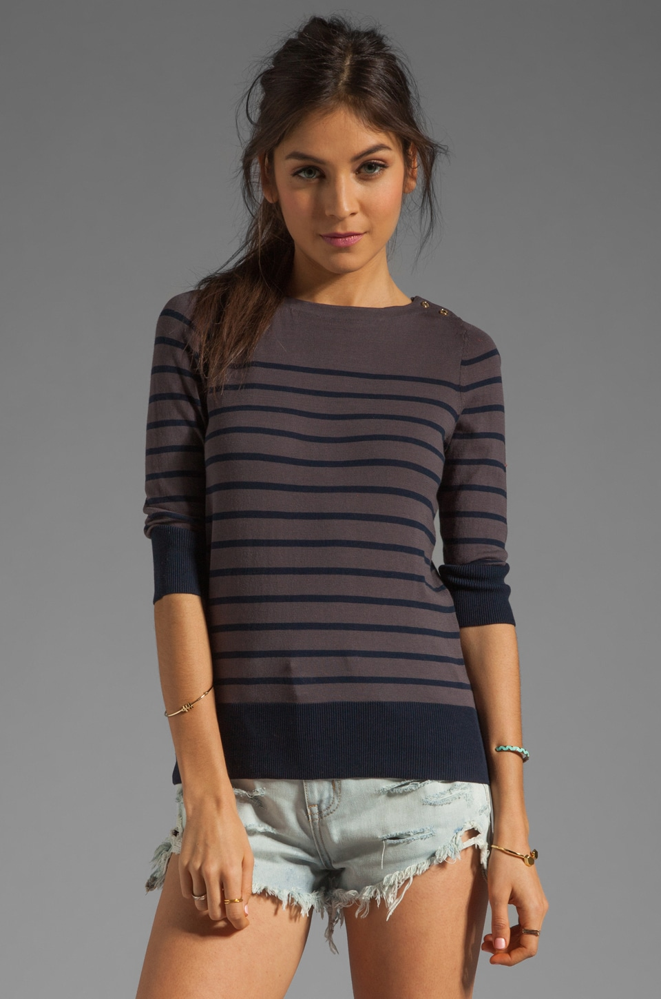 DemyLee Carrie Long Sleeve Top in Dark Grey/Navy