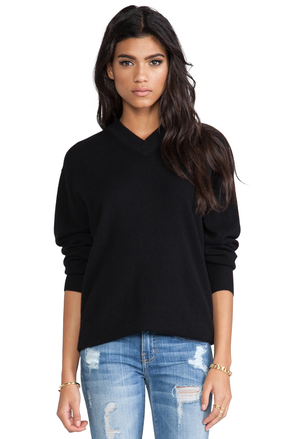 DemyLee Roberta Cashmere V Neck in Black