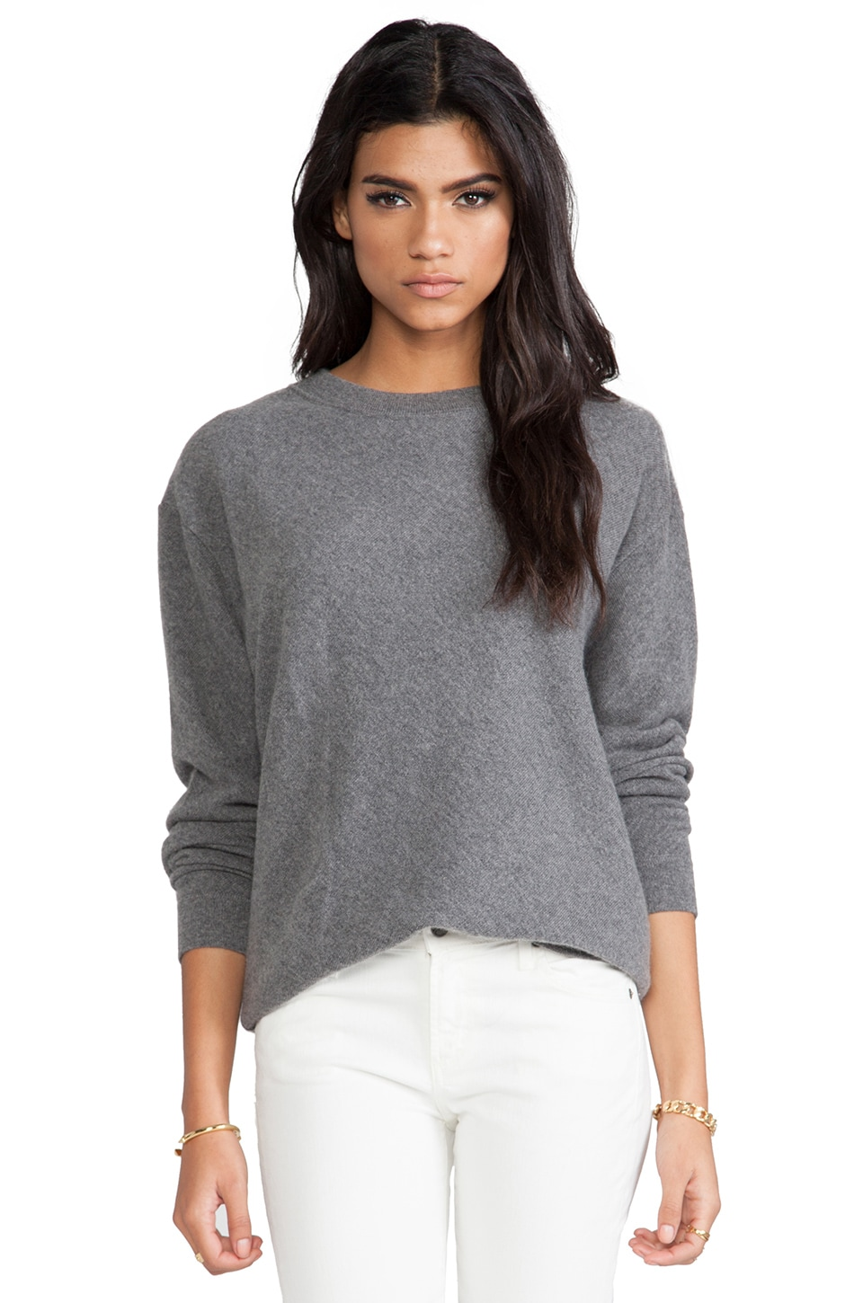 DemyLee Gigi Cashmere Pullover in Medium Heather Grey