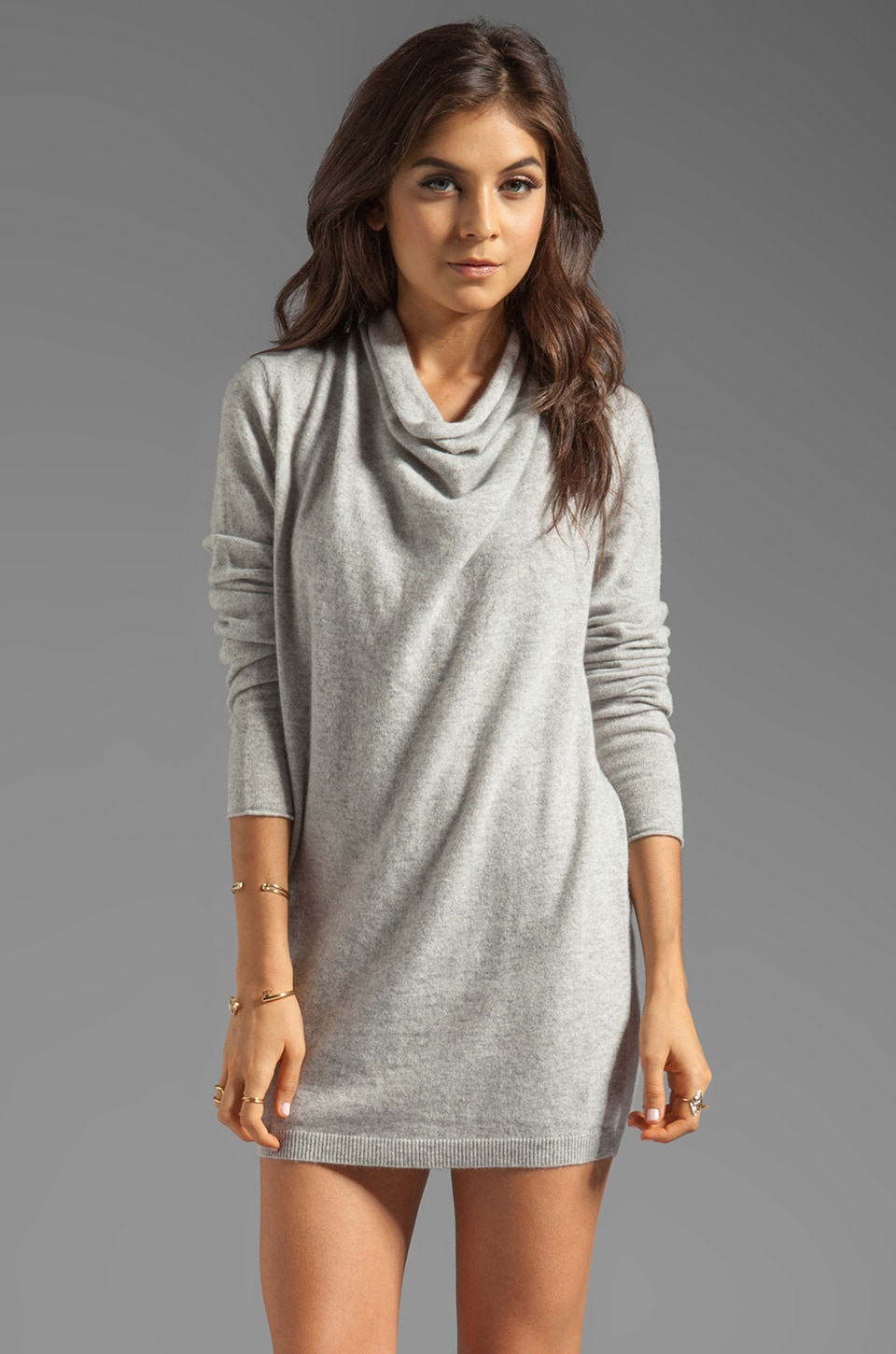 DemyLee Stella Cashmere Pullover in Light Heather Grey