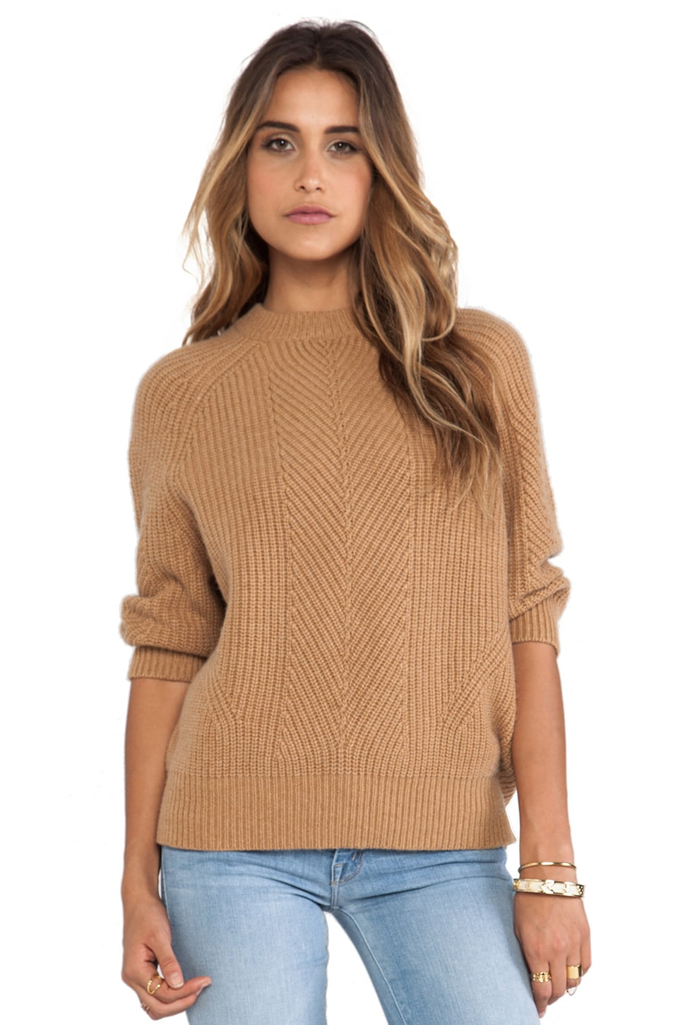 DemyLee Chelsea Cashmere Pullover in Camel