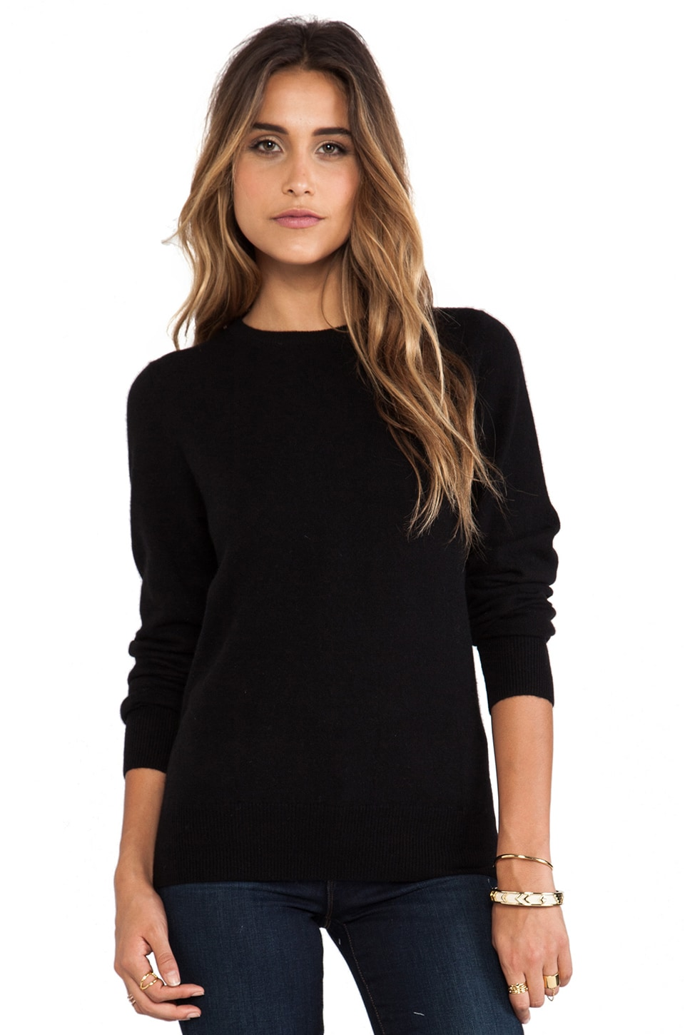 DemyLee Joie Cashmere Elbow Patch Sweater in Black