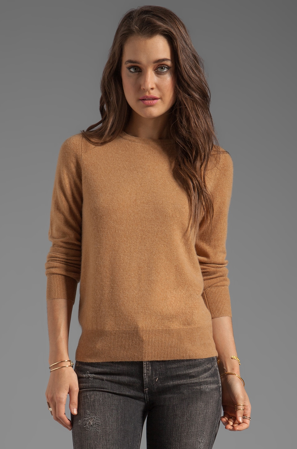 DemyLee Joie Cashmere Elbow Patch Sweater in Camel