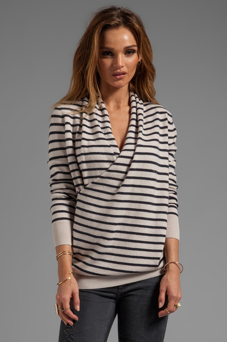 DemyLee Stripe Natalie Cashmere Sweater in Stone/Navy