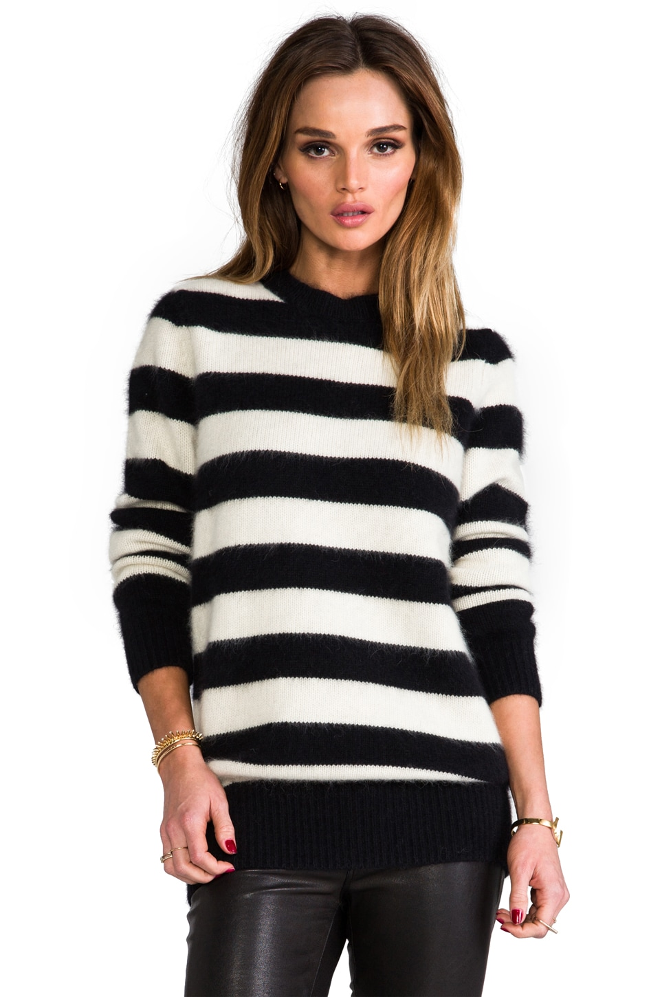 DemyLee Ava Stripe Sweater in Ivory/Black