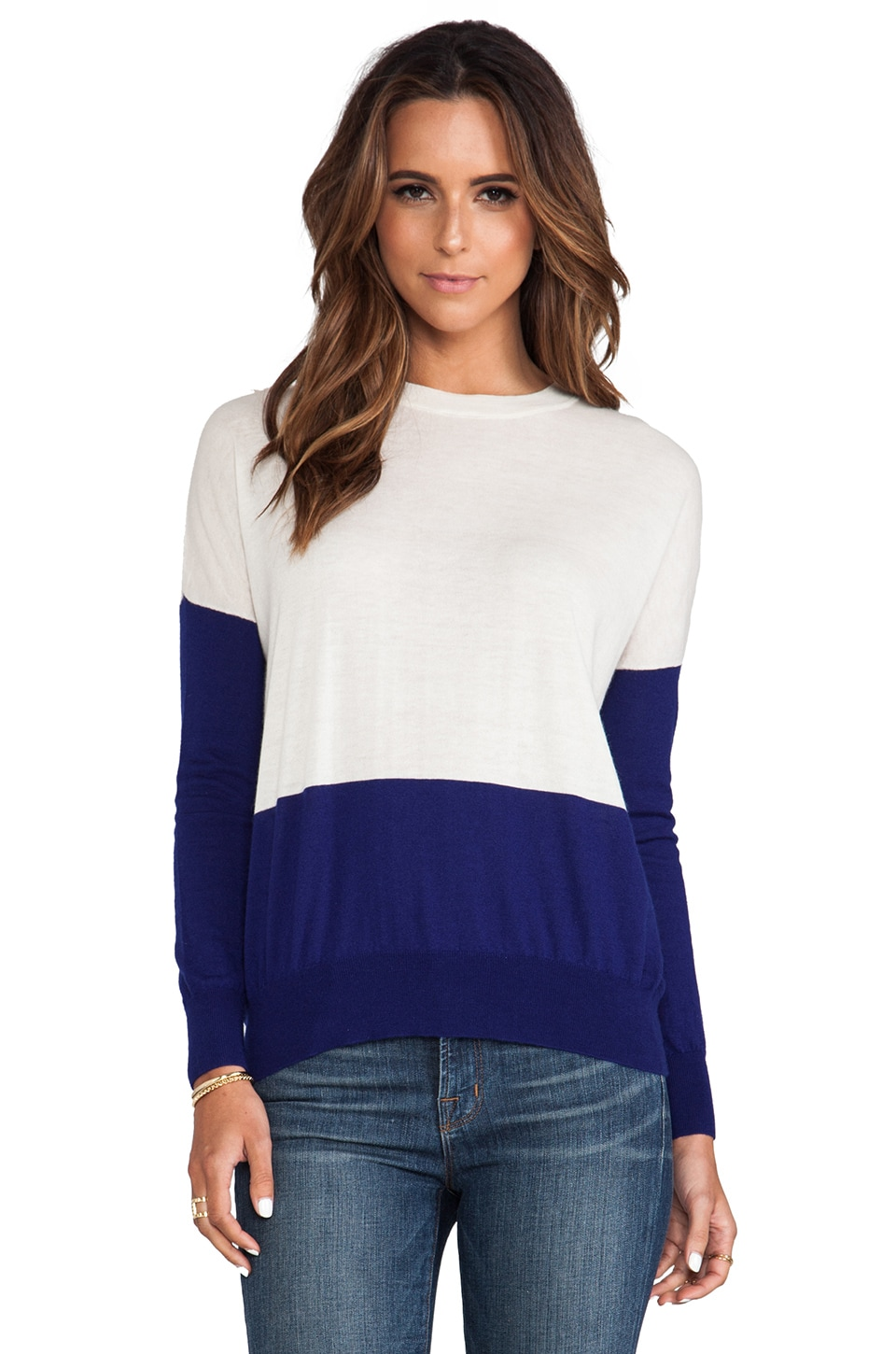 DemyLee Kellen Cashmere Sweater in White & Marine