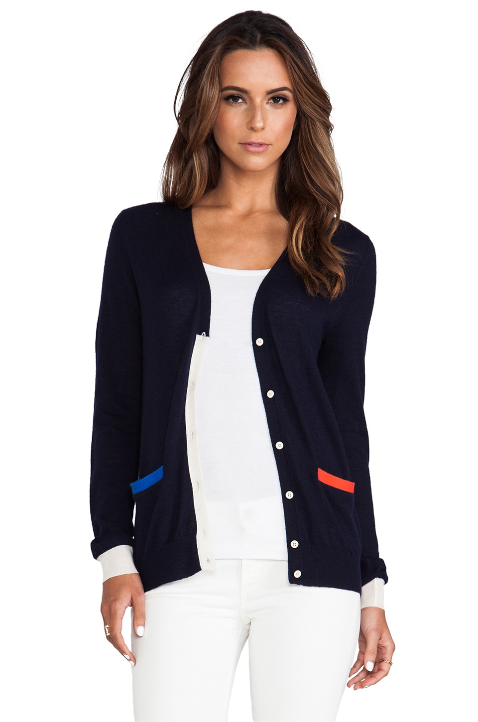 DemyLee Kofi Cardigan in Navy & Blue & Red