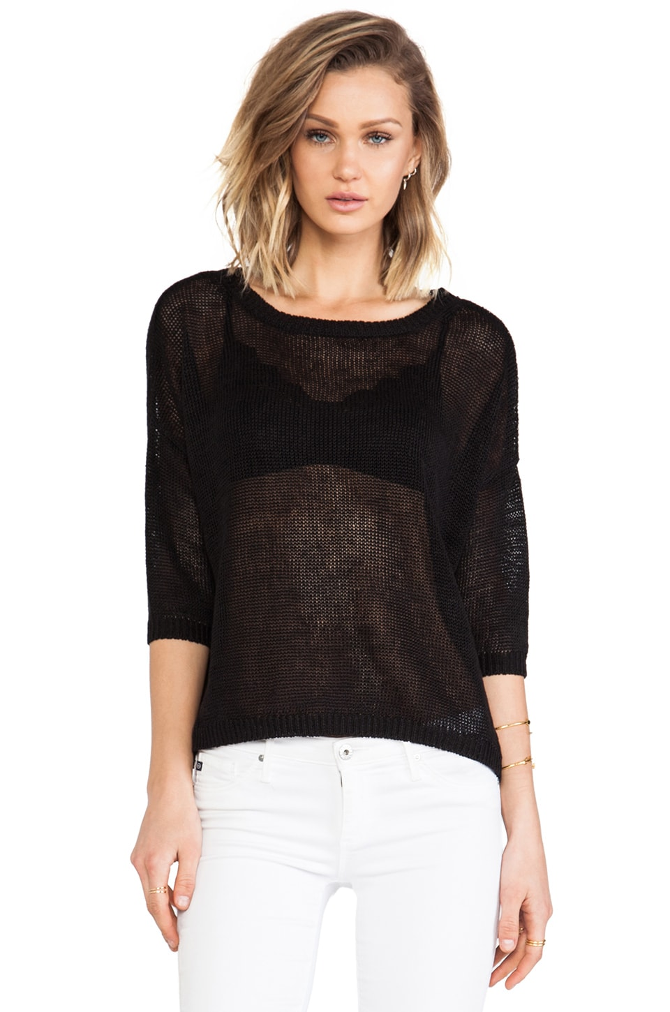 DemyLee x REVOLVE Alexa Short Sleeve Sweater in Black