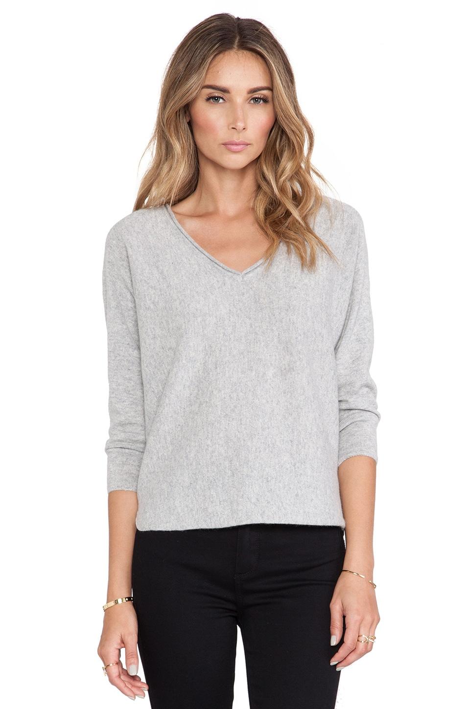 DemyLee Cashmere Piper Sweater in Light Heather Grey