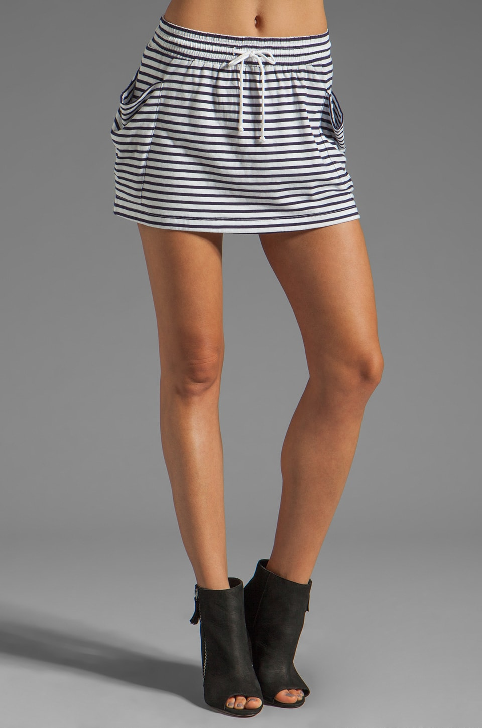 DemyLee Sabrina Sailor Stripe Skirt in White/Navy