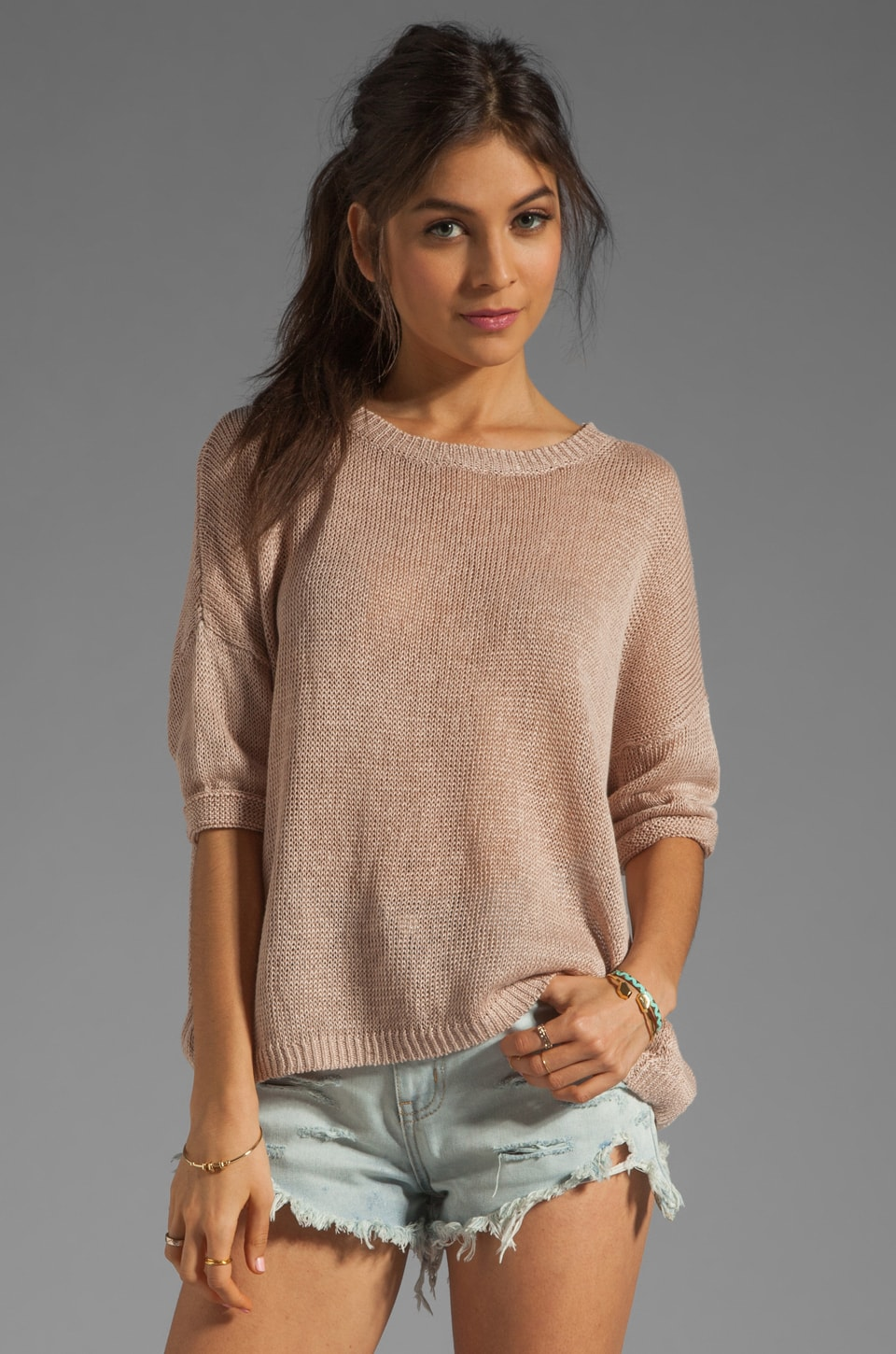 DemyLee Alexa Short Sleeve Top in Nude