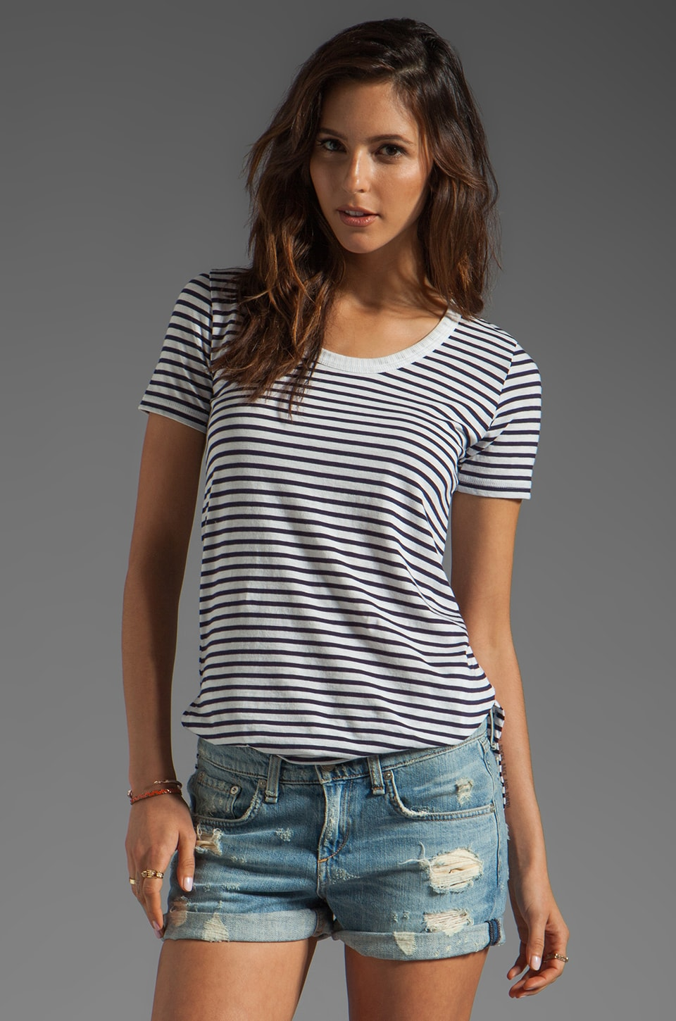 DemyLee Semi Sailor Stripe Top in White/Navy