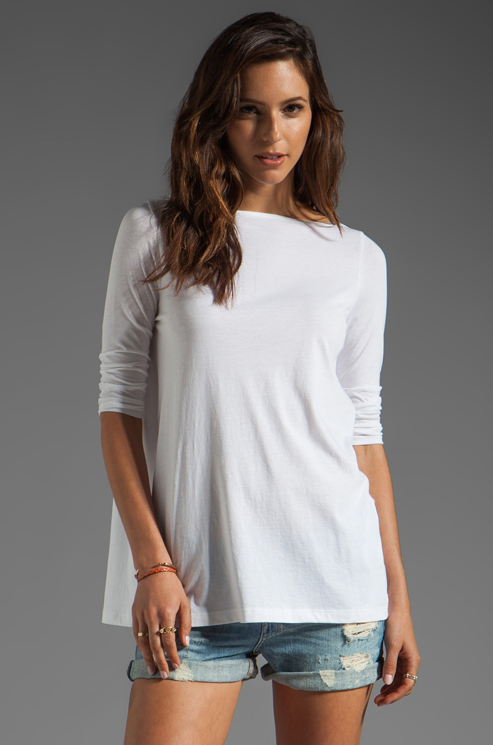 DemyLee Katrina Long Sleeve Top in White