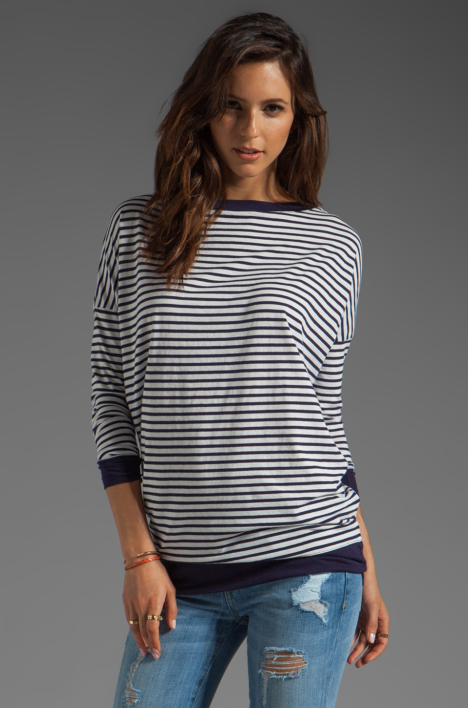 DemyLee Charlie Sailor Stripe Long Sleeve Top in White/Navy