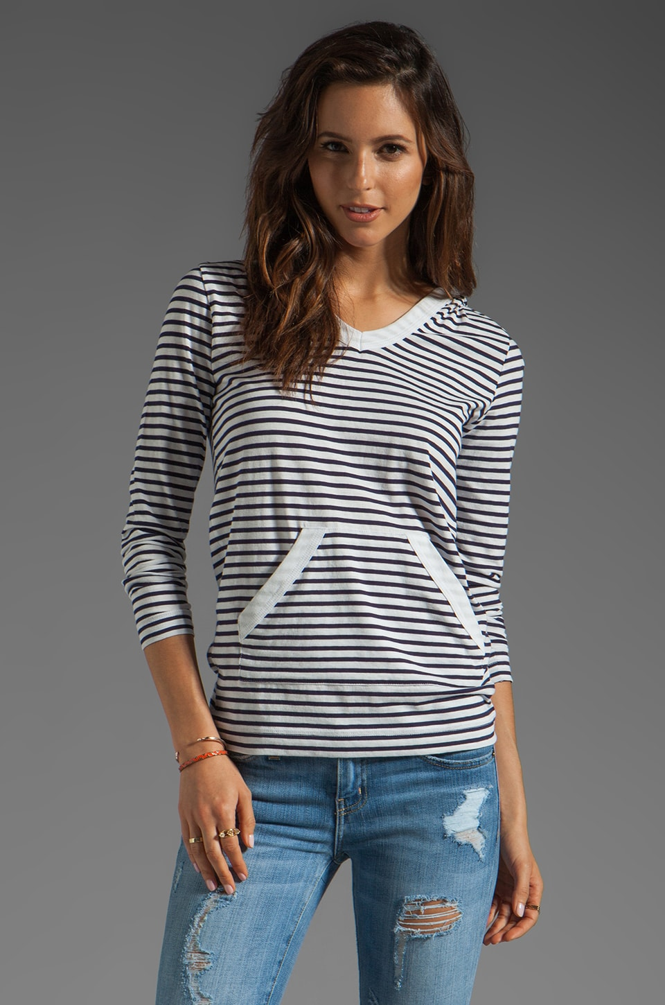 DemyLee Henri Hooded Sailor Stripe Top in White/Navy