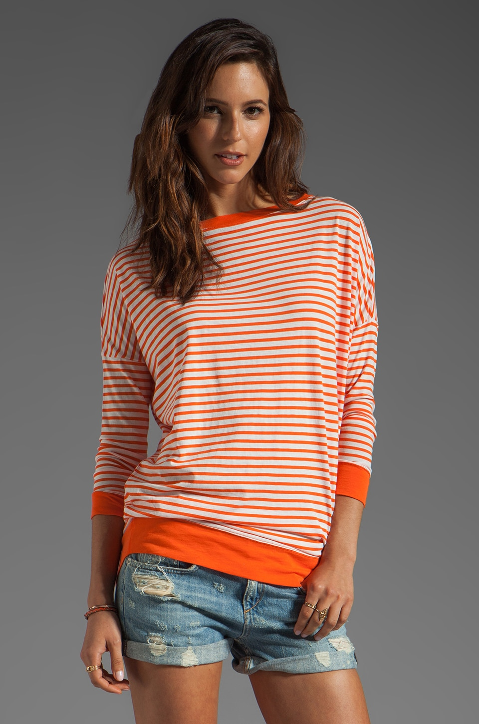 DemyLee Charlie Sailor Stripe Long Sleeve Top in White/Orange
