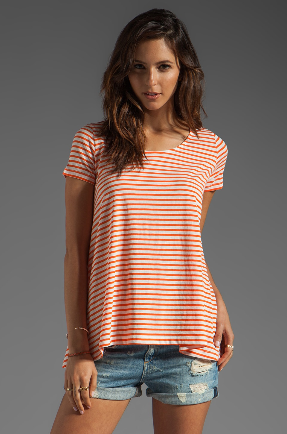 DemyLee Hudson Sailor Stripe Top in White/Orange