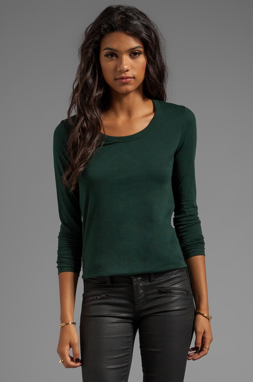 DemyLee Parker Long Sleeve in Hunter Green