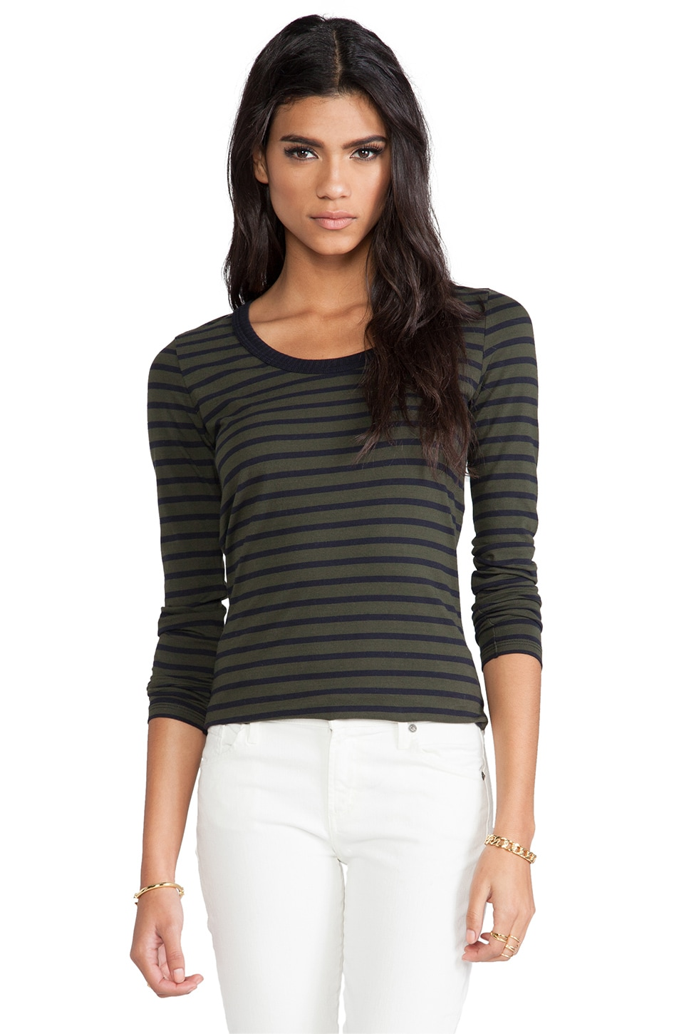 DemyLee Stripe Parker Long Sleeve in Army Green/Navy