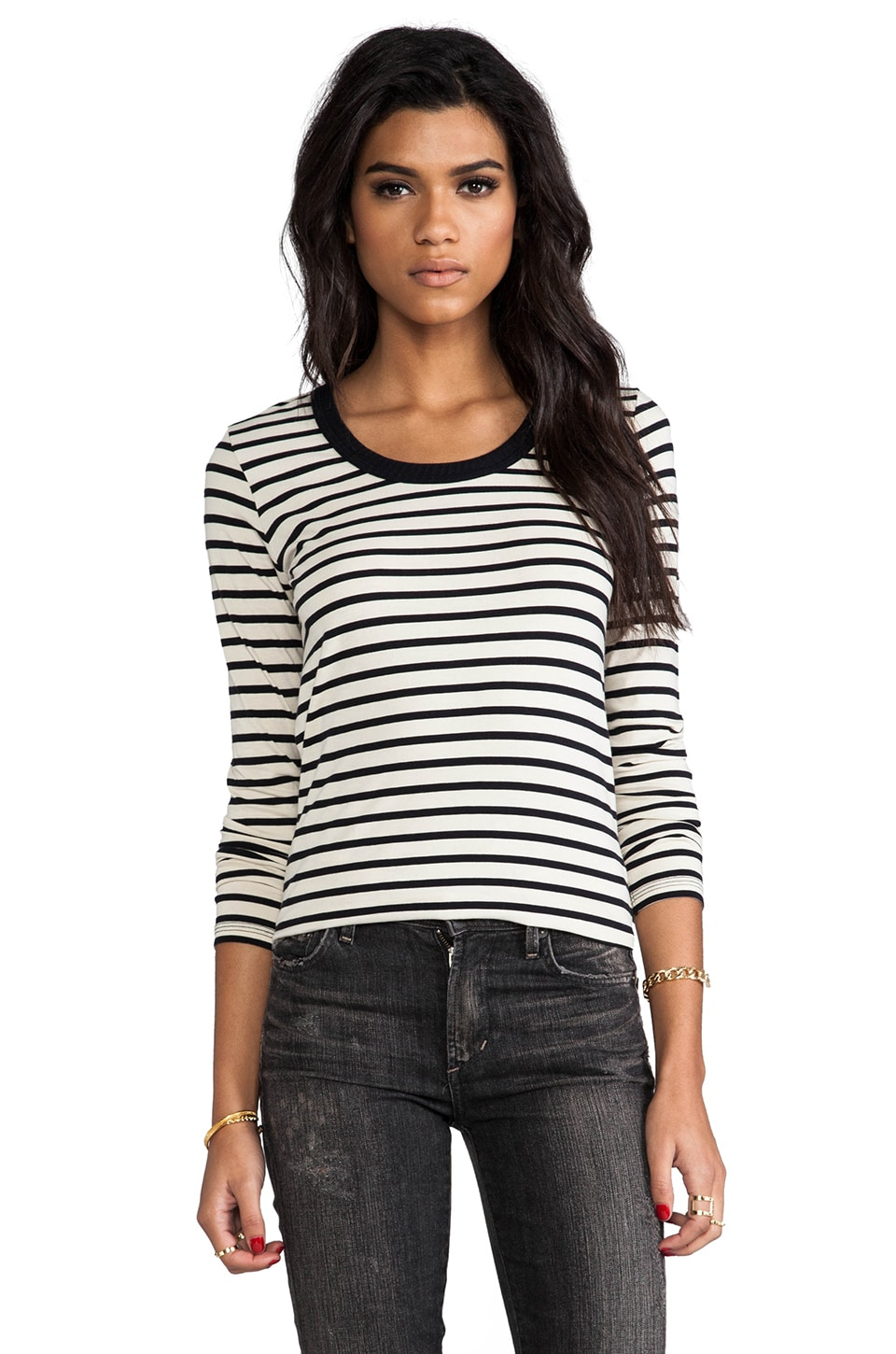 DemyLee Stripe Parker Long Sleeve en Natural/Navy