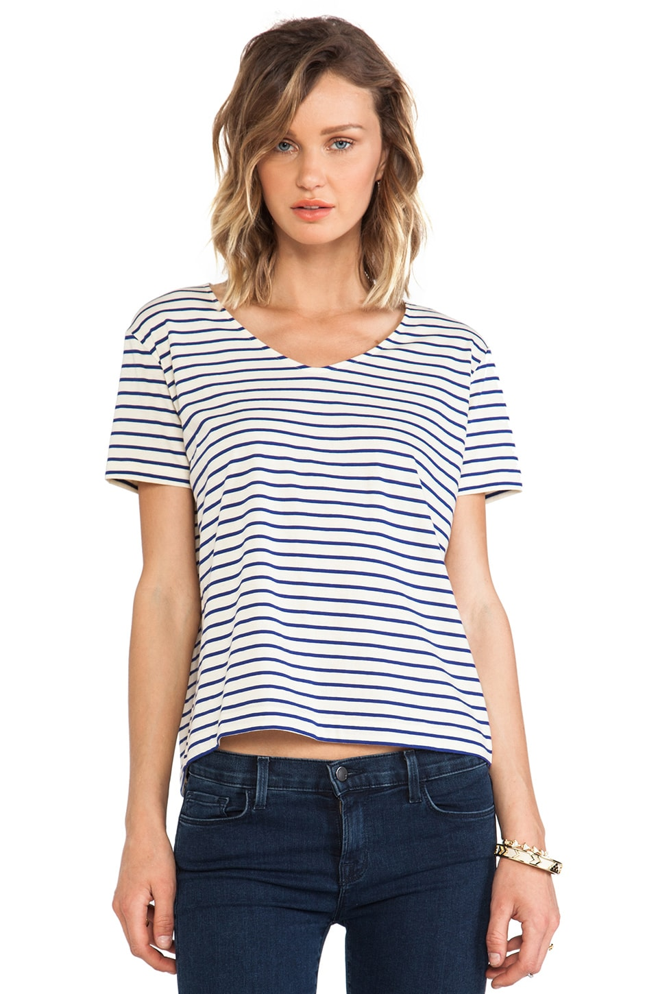 DemyLee Stripe Lowe Tee in Natural & Marine