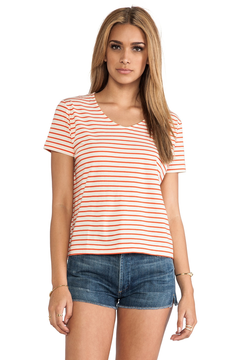 DemyLee Stripe Lowe Tee in Natural & Red
