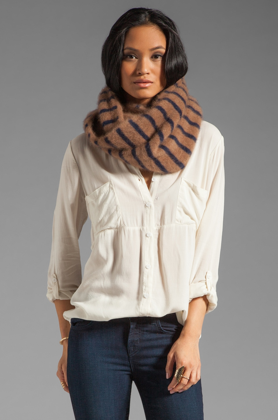 DemyLee Striped Infinity Mohair Scarf in Taupe/Navy