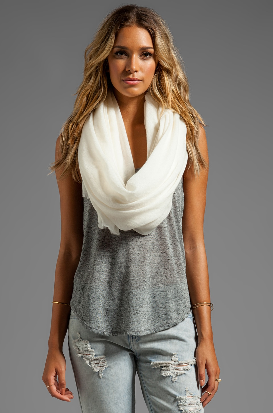 DemyLee Cashmere Woven Scarf in Ivory