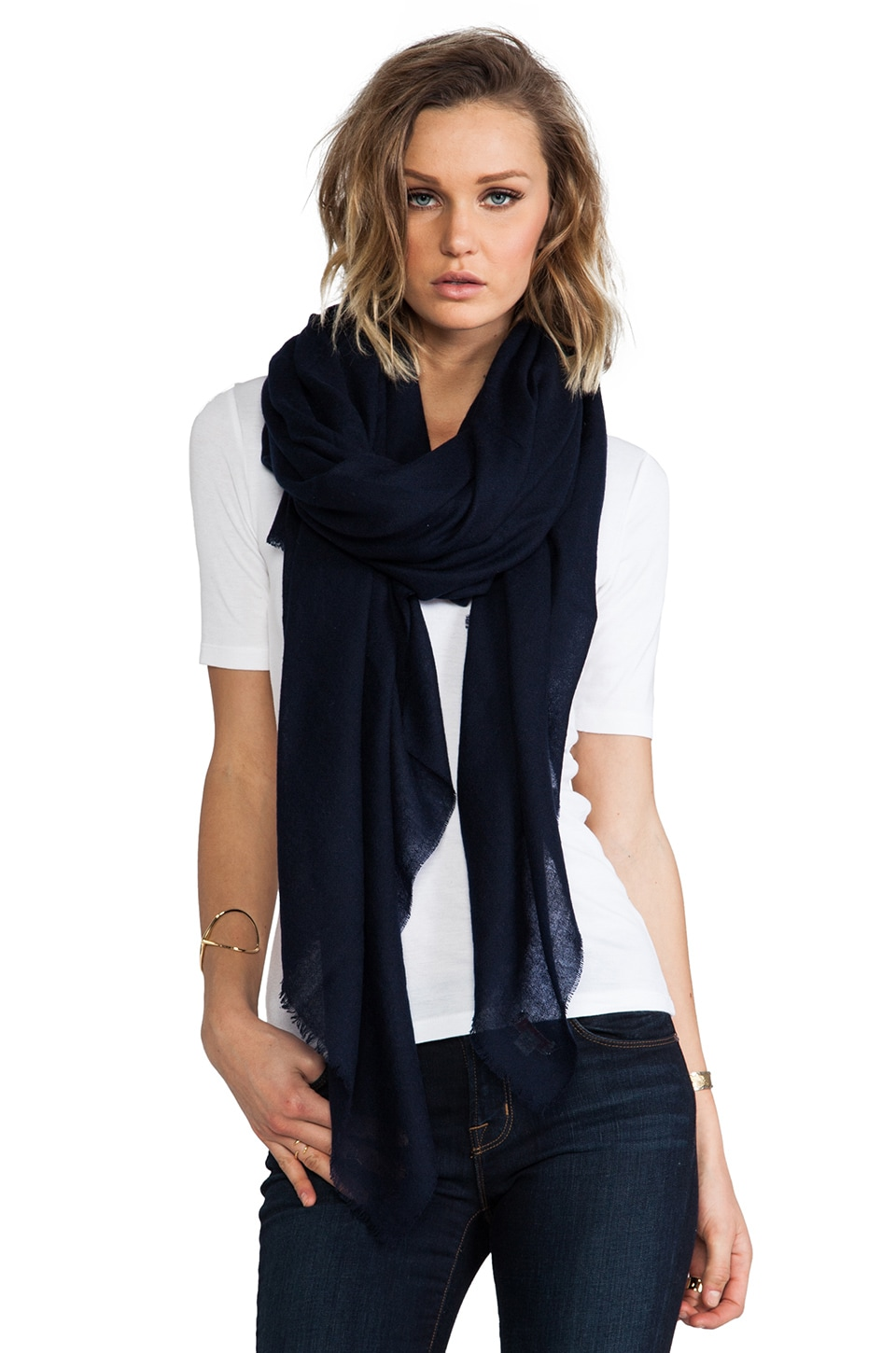 DemyLee Cashmere Woven Scarf in Navy