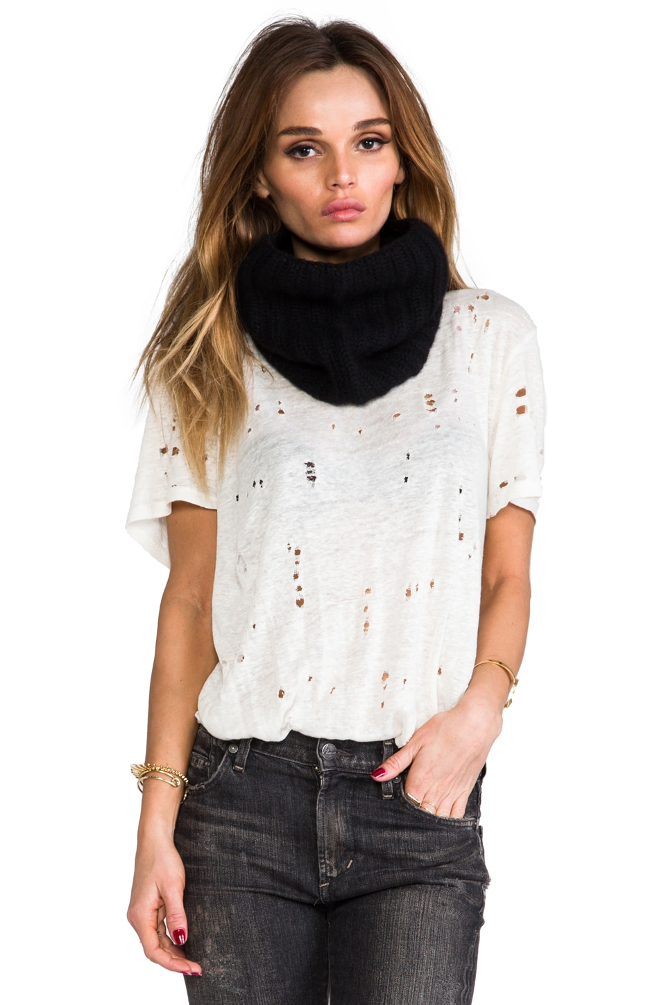 DemyLee Cashmere Chunky Rib Eternity Scarf in Black