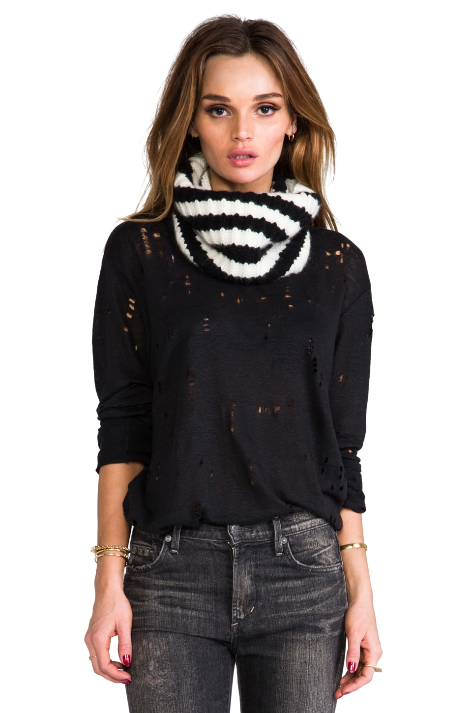 DemyLee Cashmere Stripe Eternity Scarf in White/Black