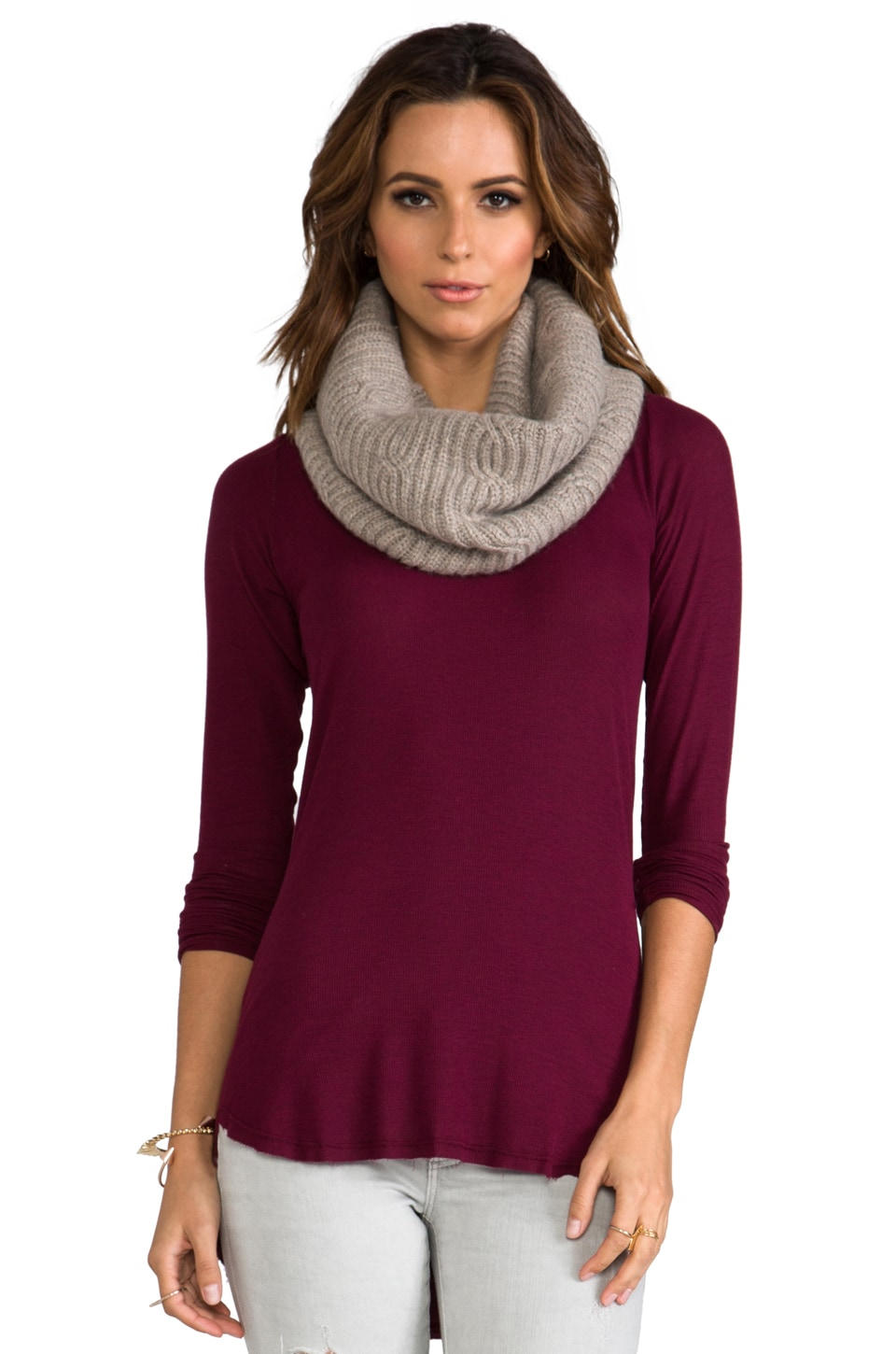 DemyLee Cashmere Cable Eternity Scarf in Feather Heather