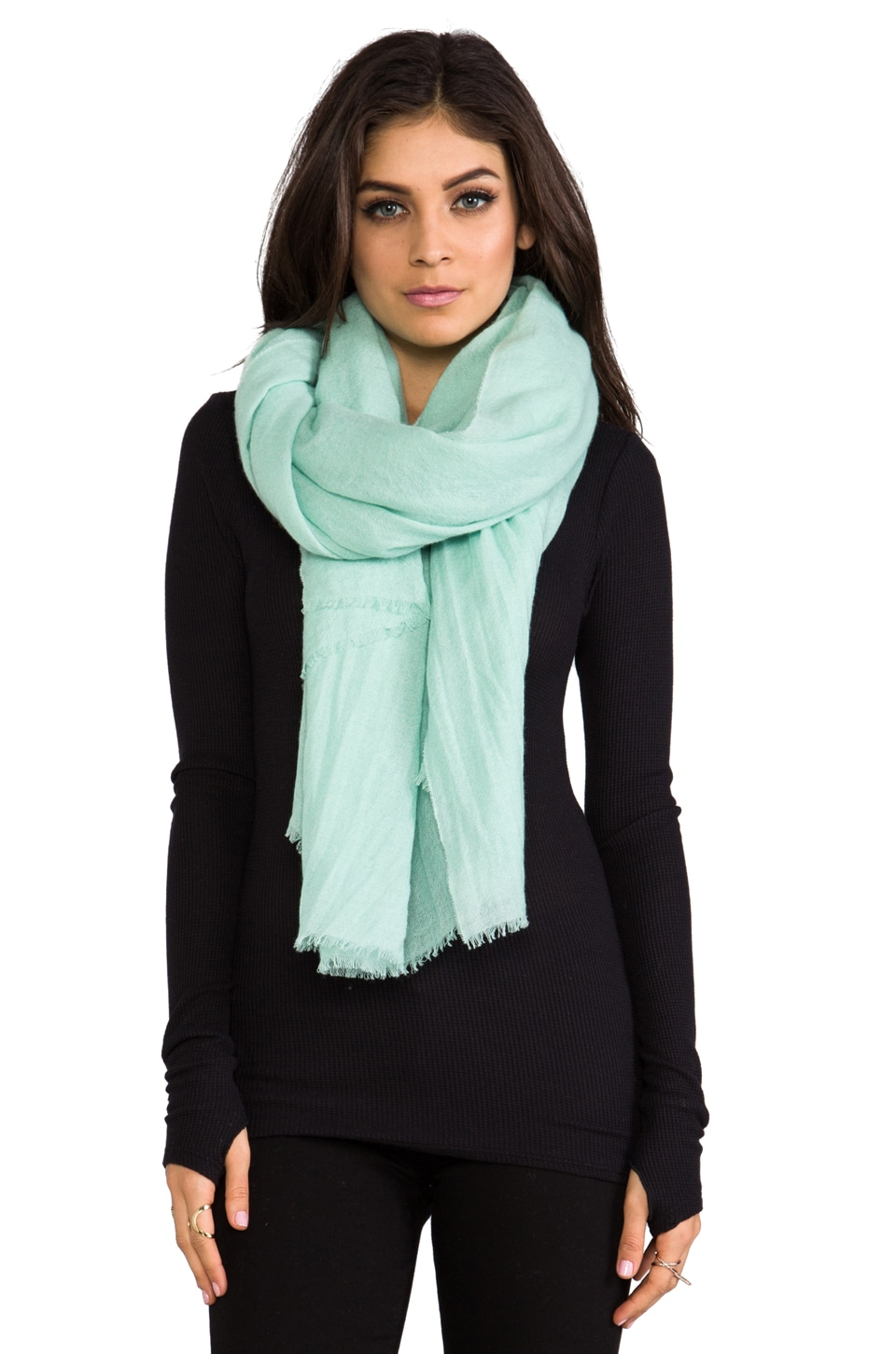 DemyLee Solid Woven Gauze Scarf in Foam Green