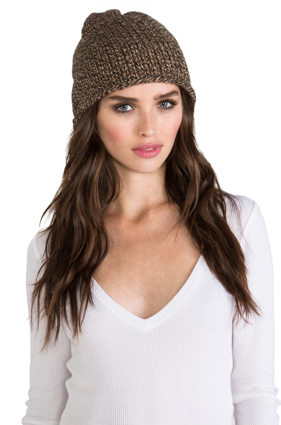 DE NADA Beanie Knit in Brown Mix