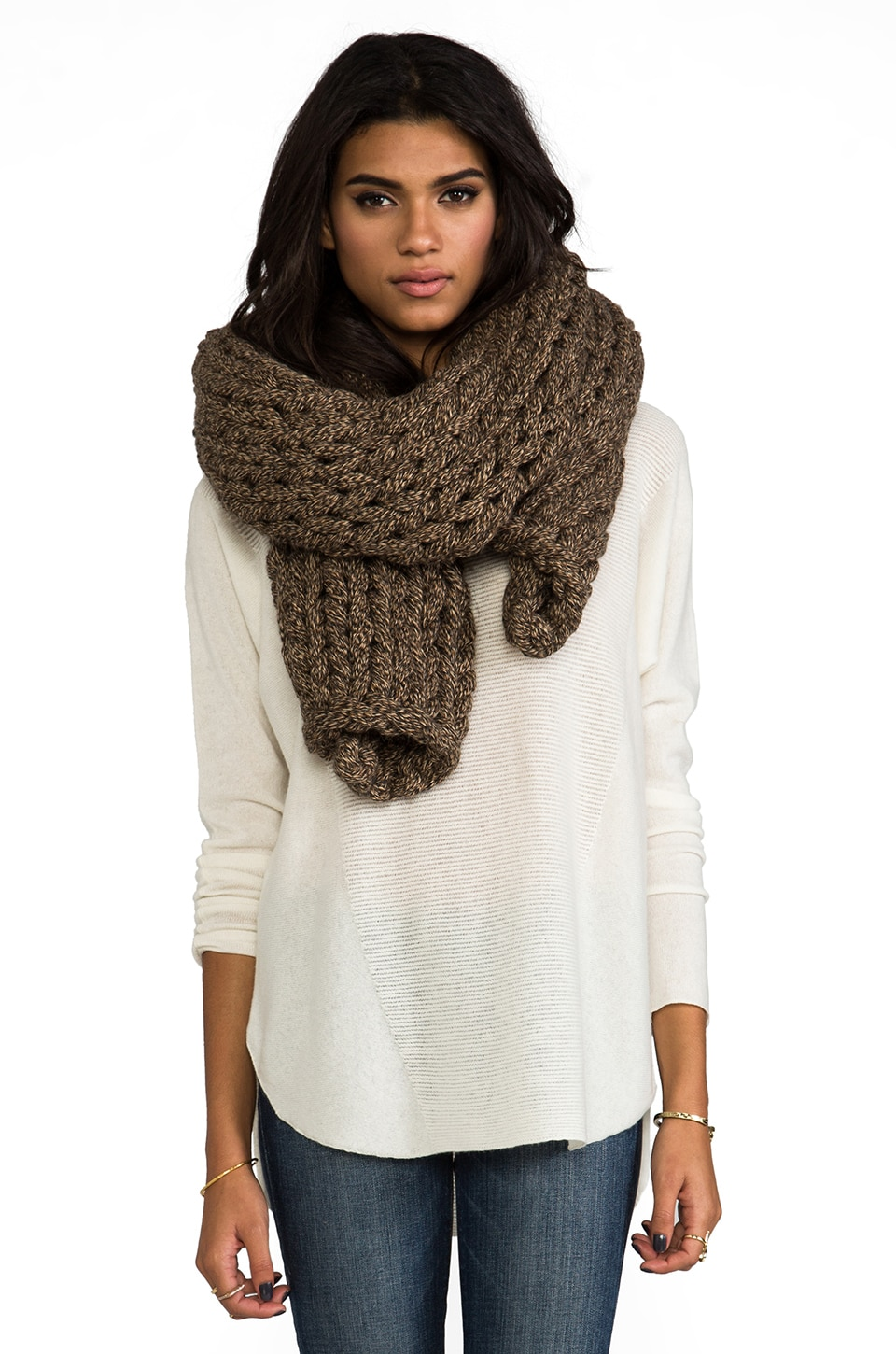 DE NADA Large Knit Shawl in Brown Mix